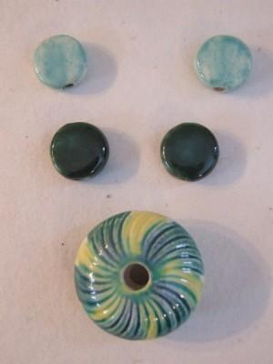 Glazed ceramic bead set by Lynn Smythe.