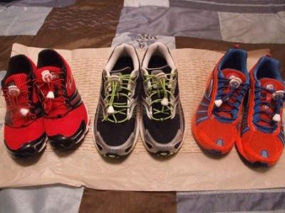 The Run Diva's running shoes she will be using during the 2011 race season. Left to right; Brooks T6 racing flats, Brooks Launch, Brooks Racer ST 5. Traditional laces have been replaced with Lock Laces.