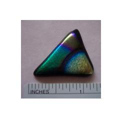 Fused glass triangle cabochon by Lynn Smythe.