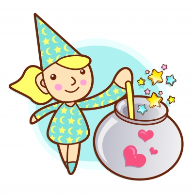 witch with cauldron cartoon