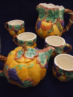 hand painted ceramic tea set