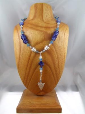 blue and silver heart necklace by Lynn Smythe