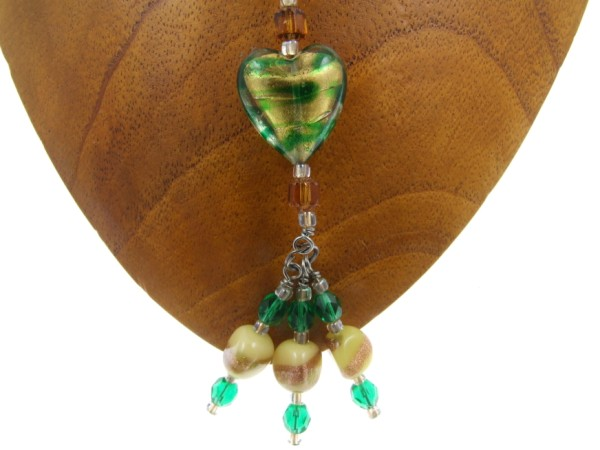 Green and gold heart pendant by Lynn Smythe