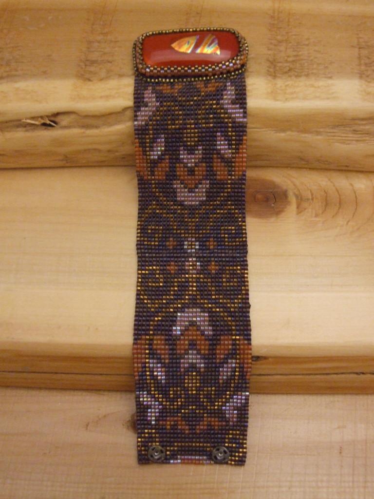 Tapestry loom woven bracelet by Lynn Smythe.
