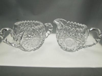 Vintage ABP cut crystal sugar creamer set.
