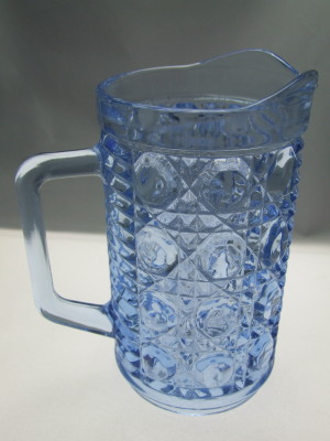 Vintage blue Federal glass water pitcher.
