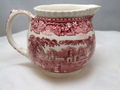 Vista pink transfer ware ceramic creamer.
