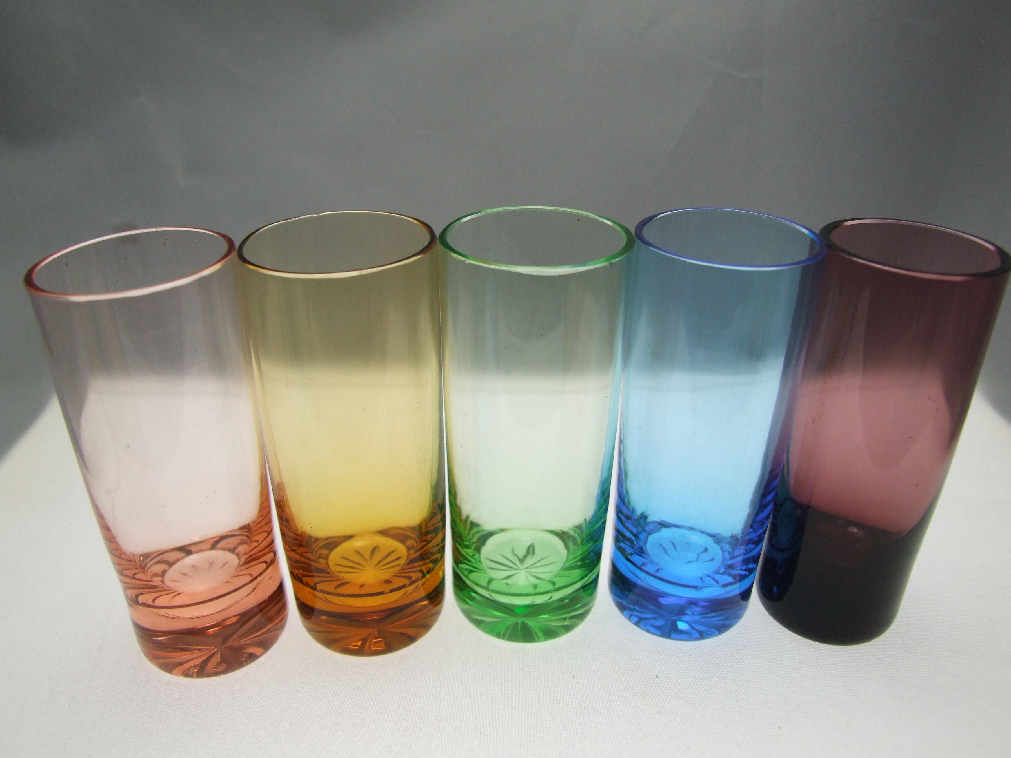 blue vintage shot glass