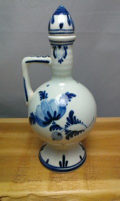 Delft blue decanter made in Holland.