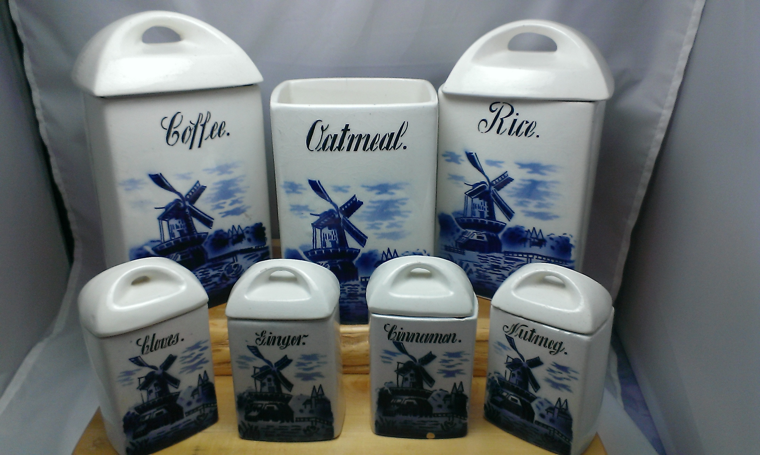 vintage delft blue transferware ceramic canister set made black vintage cookie canister home ceramic country kitchen