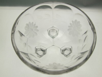Pressed glass bowl with cut flowers.