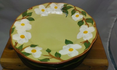 White dogwood pattern plates from Stangl pottery.