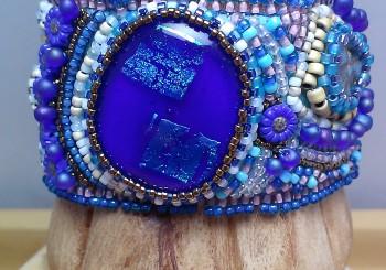 Bead Embroidered Cuff Bracelet by Lynn Smythe