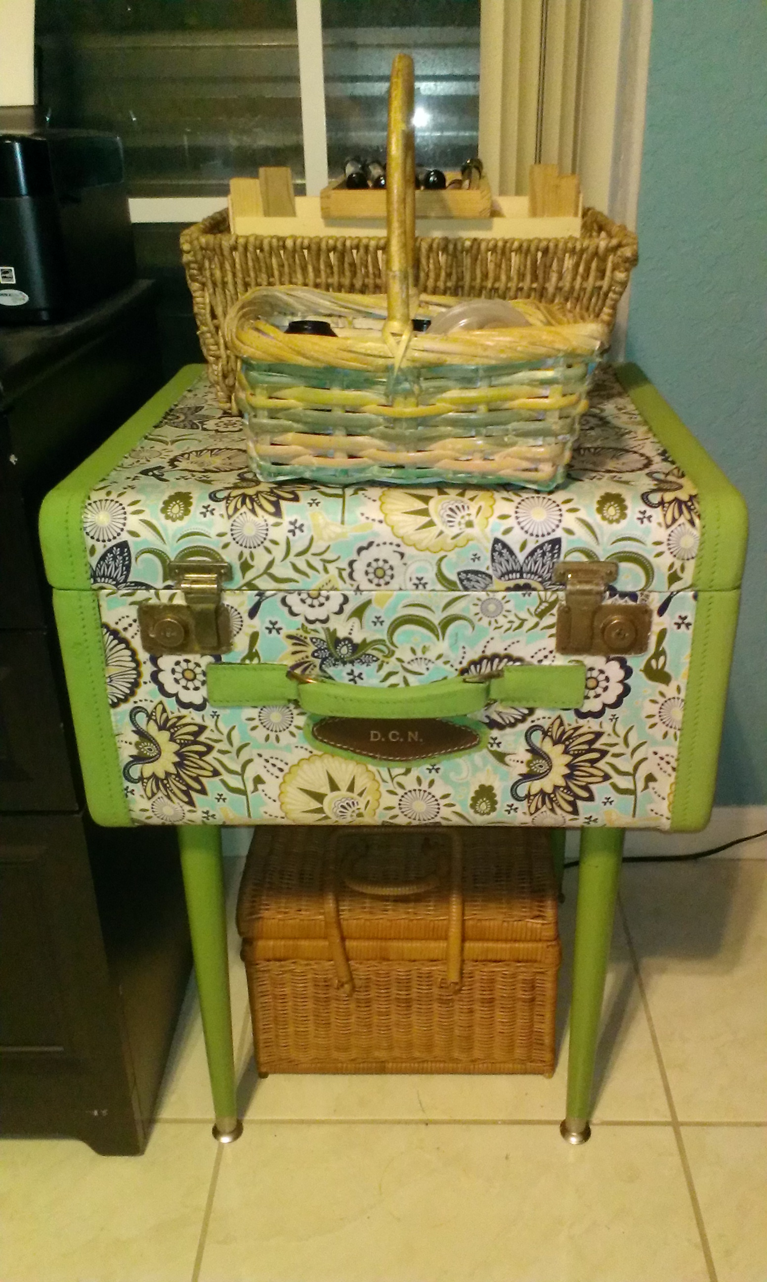 Fabric Vintage Suitcase Table 36
