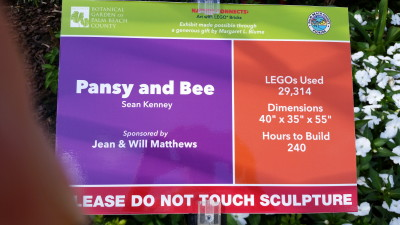Details of Pansy and Bee Lego sculpture.