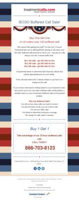 Introducing Buffered Calls - 72 Hour BOGO Sale from TreatmentCalls.com
