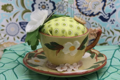 white dogwood teacup pincushion